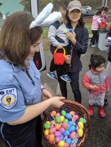 Armstrong EMT Jennifer Bowman handed out eggs at the Gerry McCarthy Community Egg Hunt.