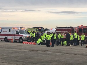 Armstrong Ambulance provided several vehicles and first responders for a training drill at Hanscom Field Wednesday.
